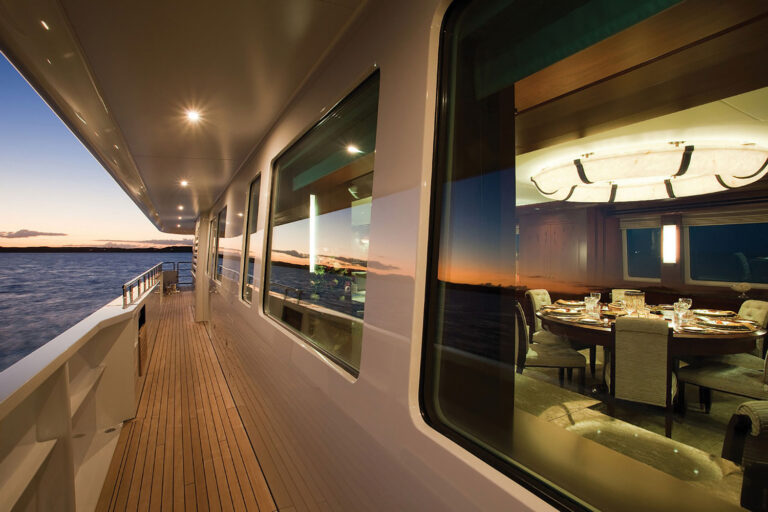 luxury yacht with automated lighting