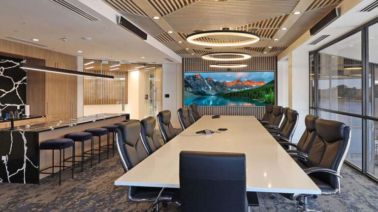 commercial office boardroom with video wall